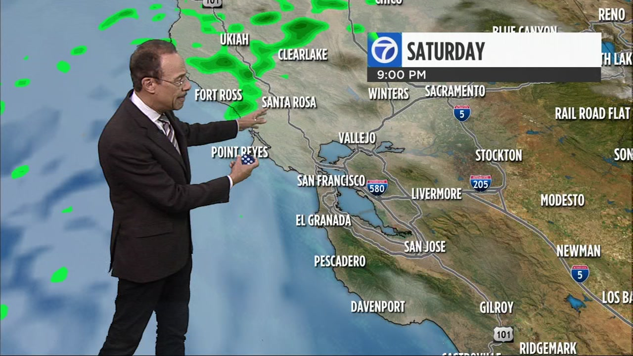 Saturday will be mostly cloudy, with a chance of widely scattered light showers. Highs will range from near 60 at the coast to low 60s near the bay and inland.