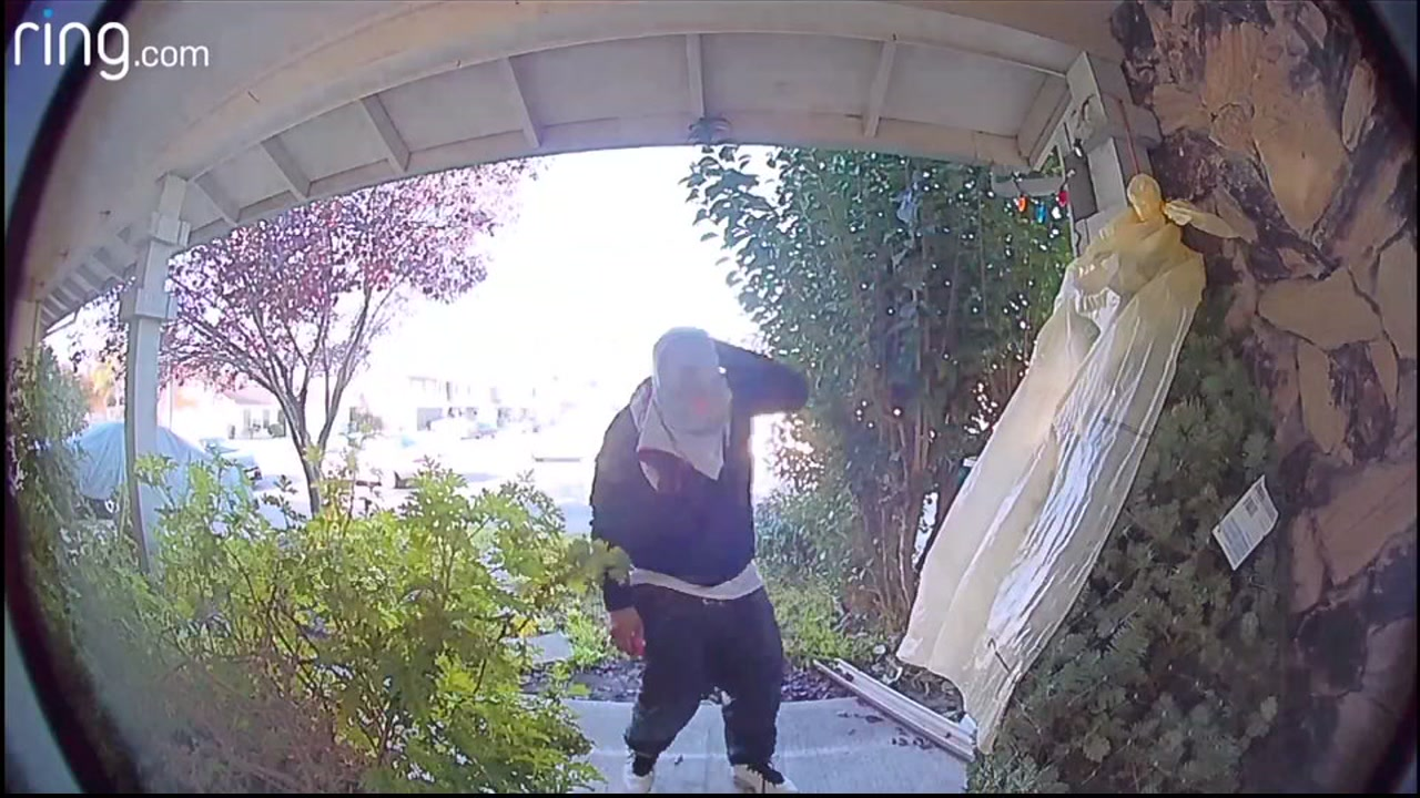 Fremont Police are searching for a suspect that they say stole a package off the porch of a home at Lake Mead Drive and Oneida Street.