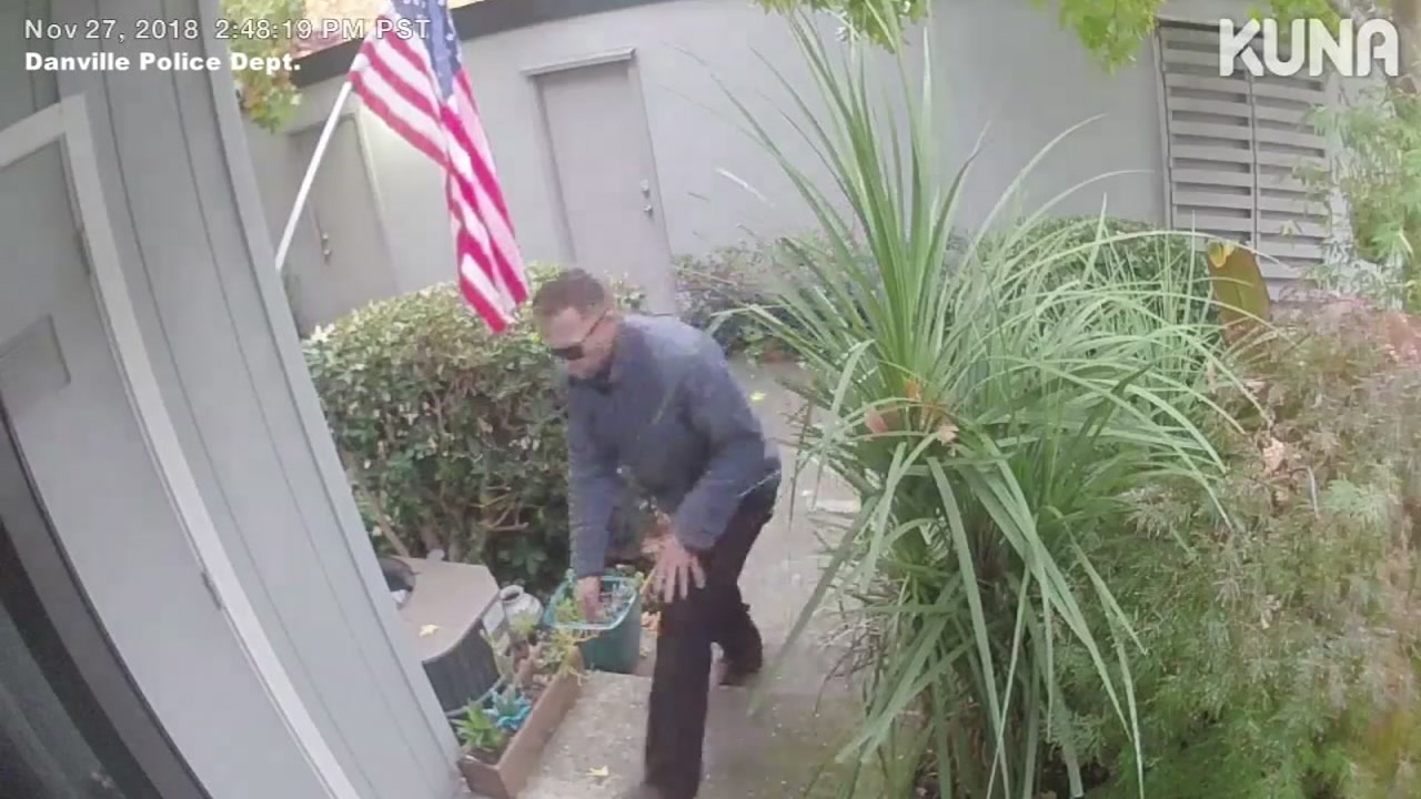 Man caught on camera taking boxes from Danville home