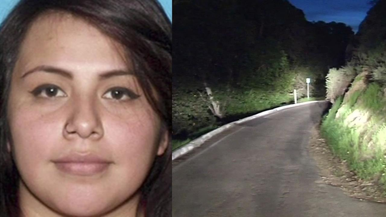 Stacey Aguilar and the remote road she was found along.