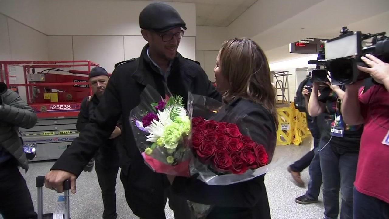 This photo shows the return of Maria Sanchez at San Francisco International Airport on Saturday, Dec. 15, 2018.