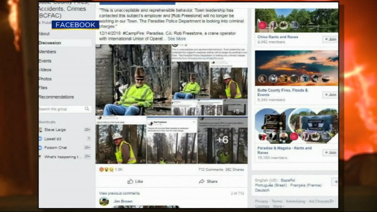 This undated image shows photos posted to social media by a Camp Fire cleanup worker in Paradise, Calif.