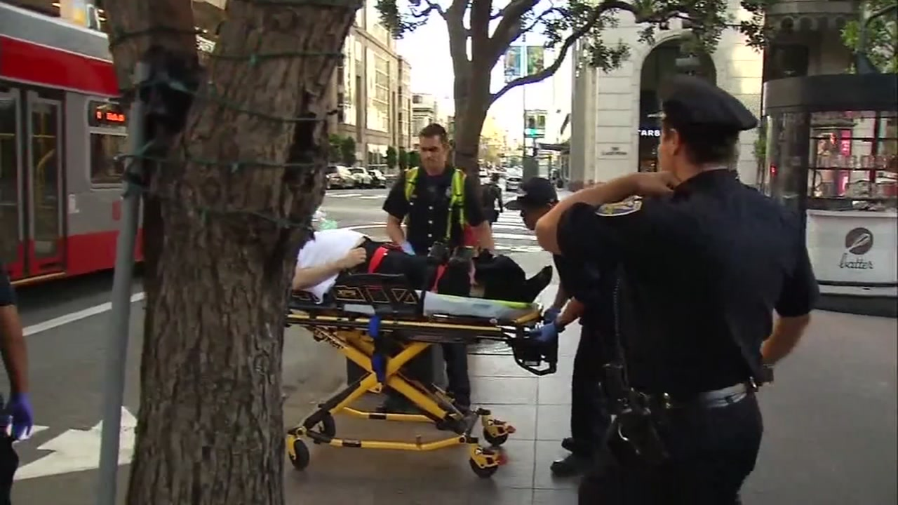 This image shows a San Francisco, Calif. security guard being carried to an ambulance after he was attacked on the job in Nov. 2018.