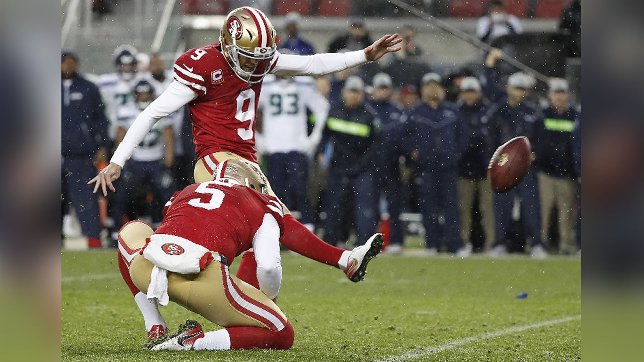 This image shows San Francisco 49ers kicker Robbie Gould on Sunday, Dec. 16, 2018 at Levis Stadium in Santa Clara, Calif.