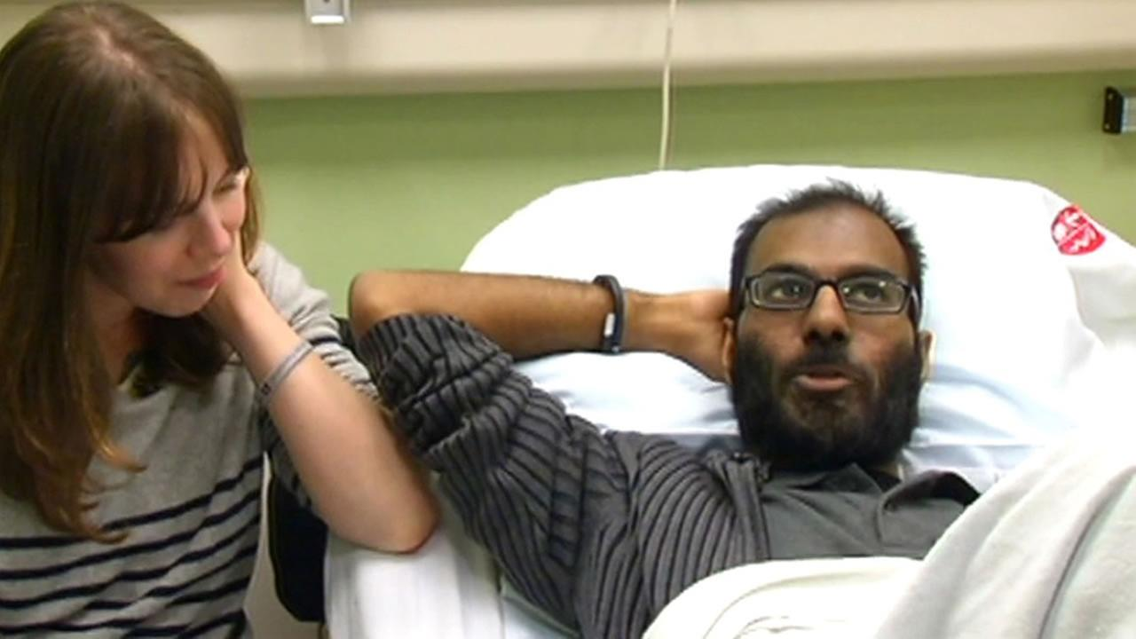 Lucy and Paul Kalinithi sit in Stanford Hospital in 2014 while Paul Lainithi undergoes his cancer treatment.