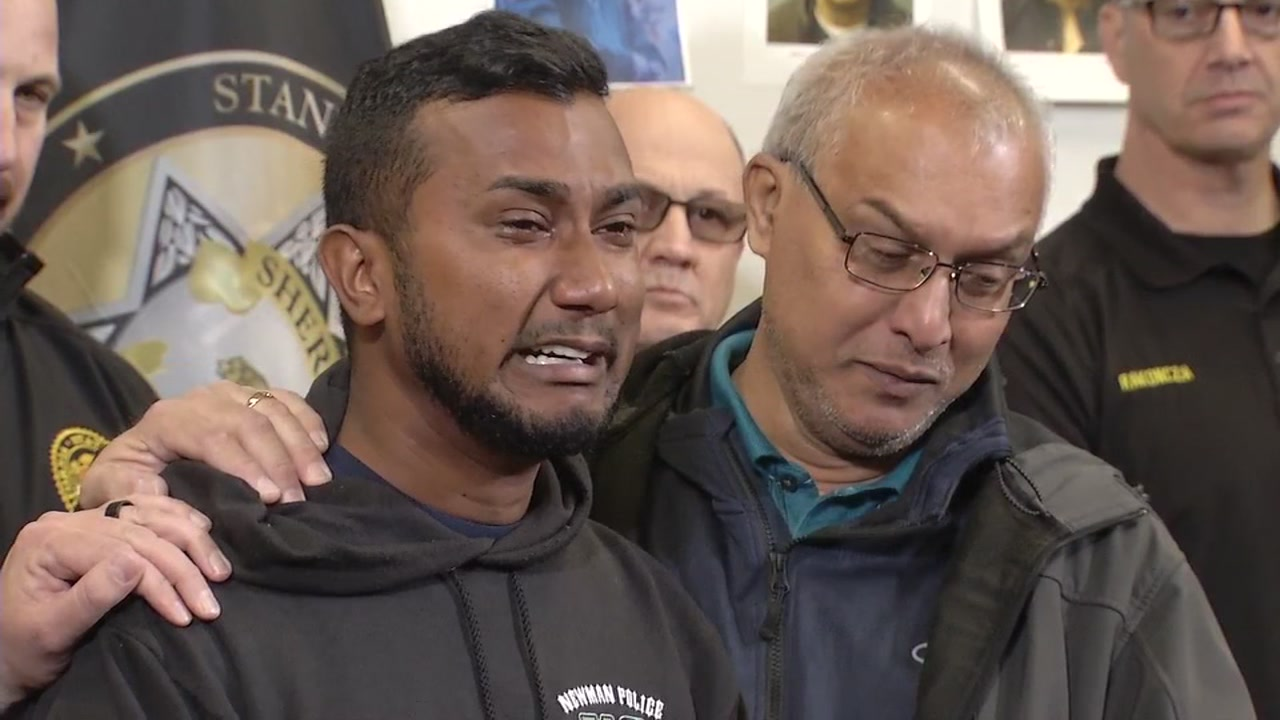 Reggie Singh, brother of fallen Newman Police Corporal Ronil Ron Singh, speaks at news conference on Friday, December 28, 2018.