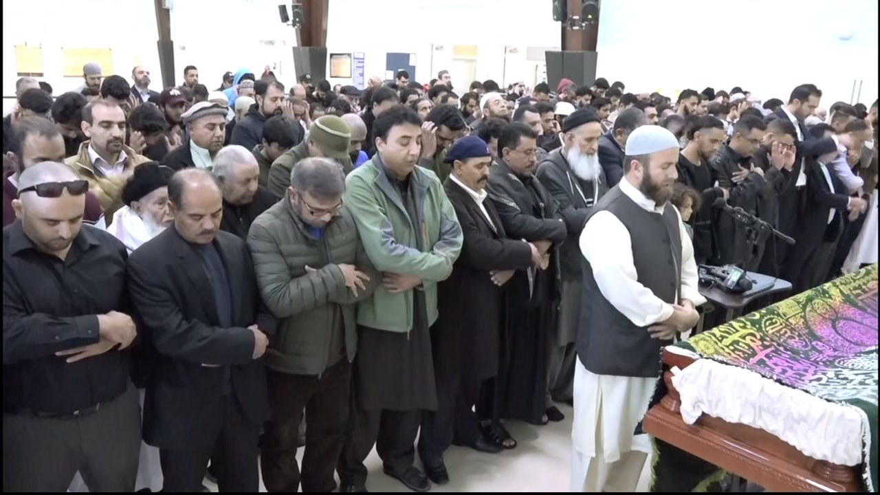 A funeral is seen in Lodi, Calif. for a Yemeni boy on Saturday, Dec. 29, 2018.