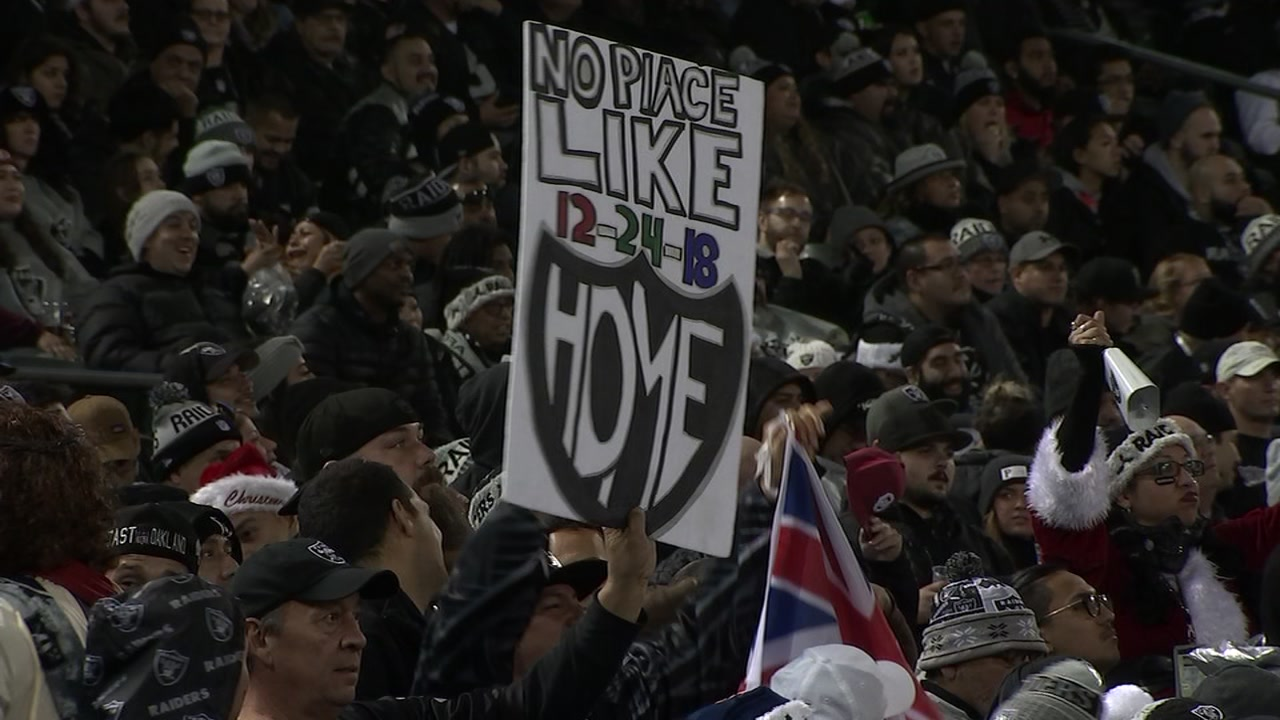 This undated image shows the crowd at a Raiders game in Oakland, Calif.