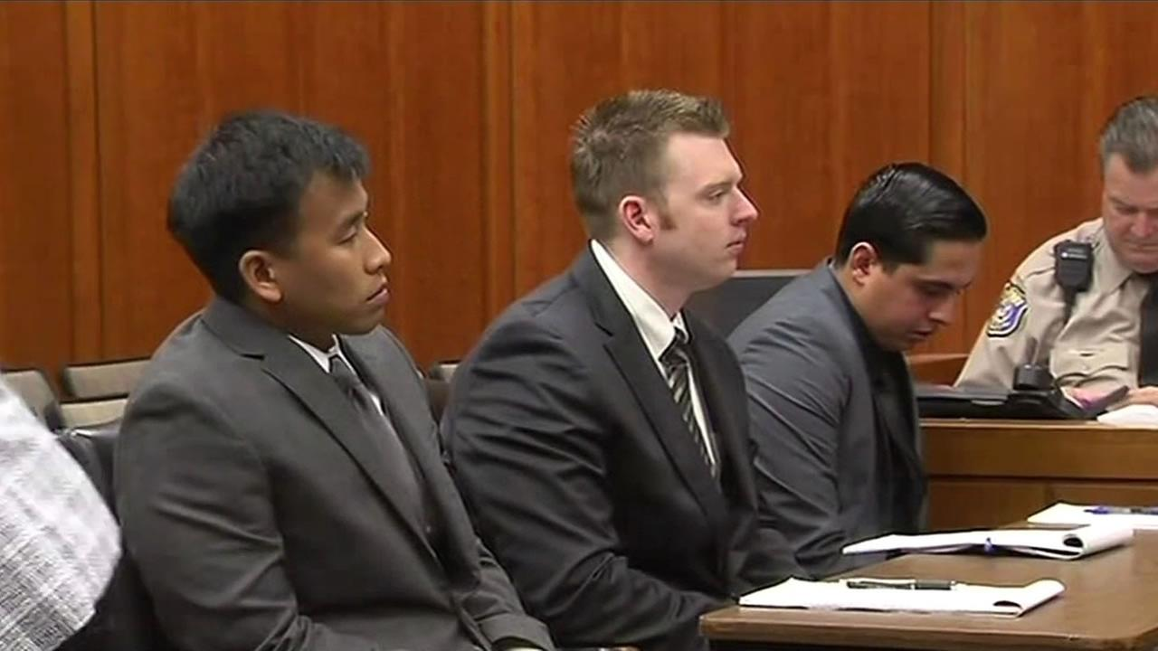 Santa Clara County jail guards Rafael Rodriguez, Matthew Farris, and Jereh Lubrin appear in court in San Jose, Calif. March 3, 2016.