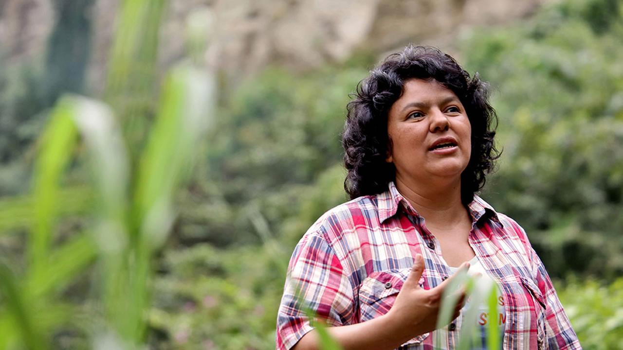 In this Jan. 27, 2015 photo released by The Goldman Environmental Prize, Berta Caceres speaks to people near the Gualcarque river located in the Intibuca department of Honduras.