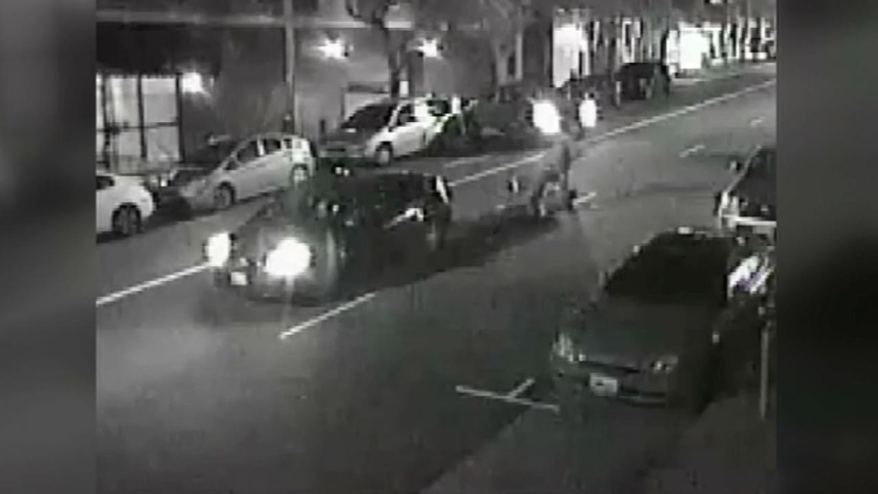 This image is a still from surveillance video released by the San Francisco police that shows a fatal attack against a tourist in February.