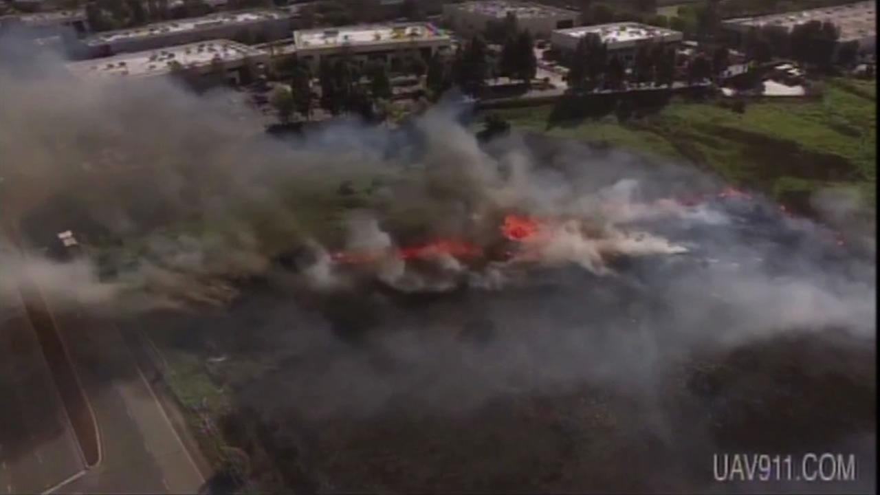 This image shows footage that a drone took of Menlo Park fire.