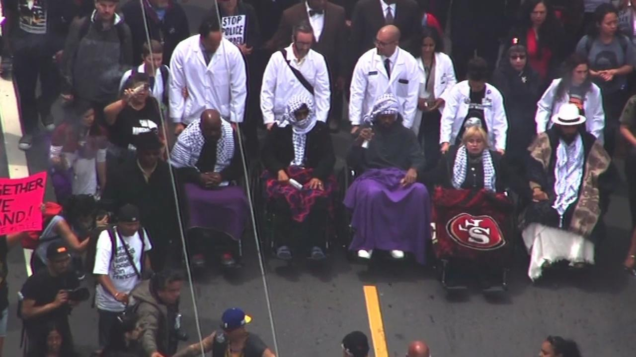 This image shows the five protesters on a hunger striker, known as the Frisco 5, during a protest in San Francisco May 3, 3016.