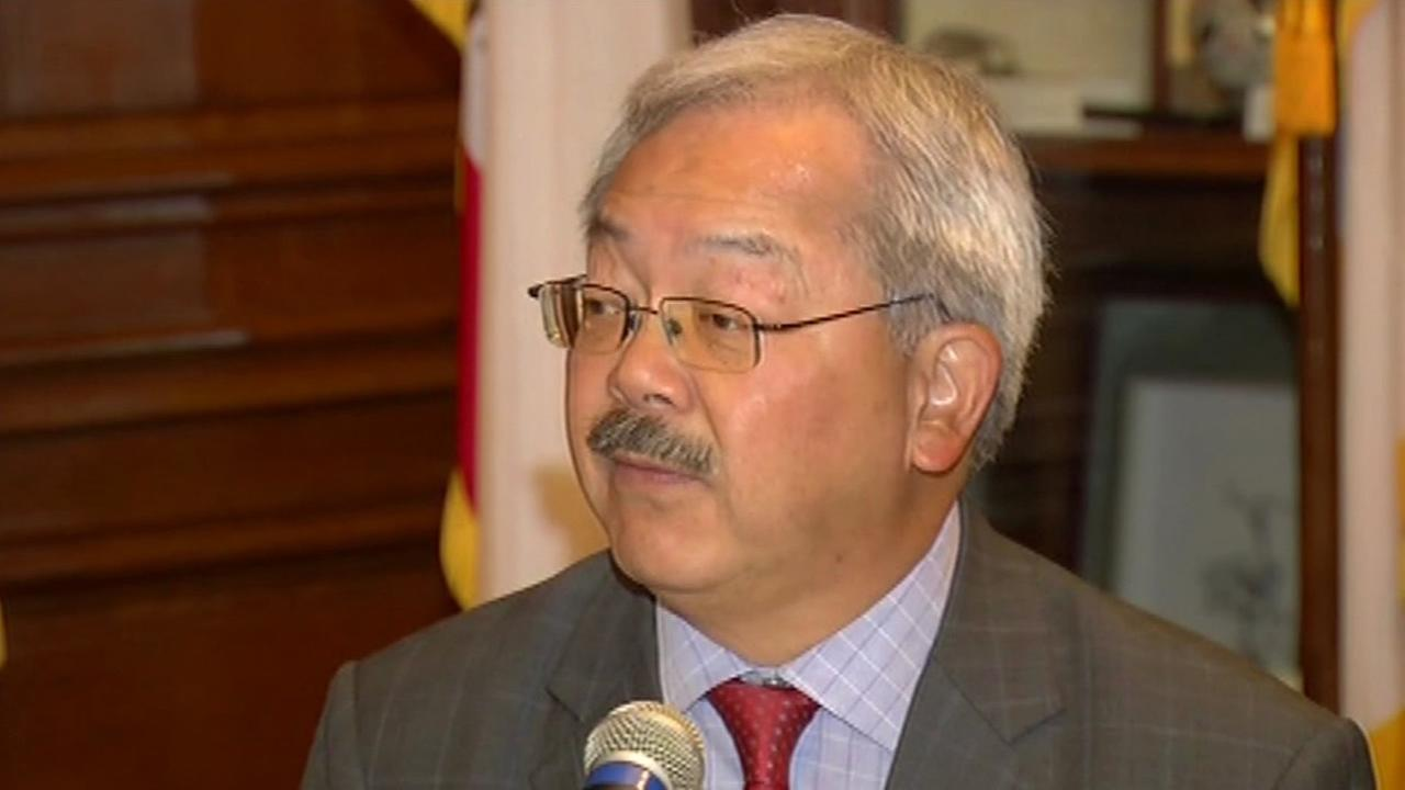 San Francisco Mayor Ed Lee is seen speaking on Tuesday, May 10, 2016.
