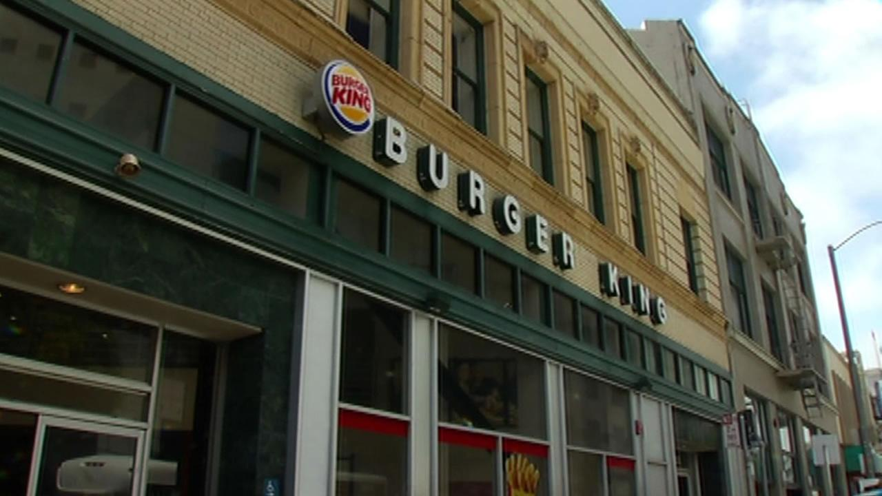 This image shows the Burger King on 8th and Market streets in San Francisco on May 11, 2016.
