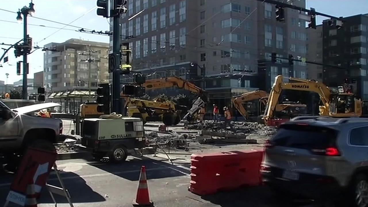 A construction crew is seen working on a street in San Francisco, Calif. in this undated image.