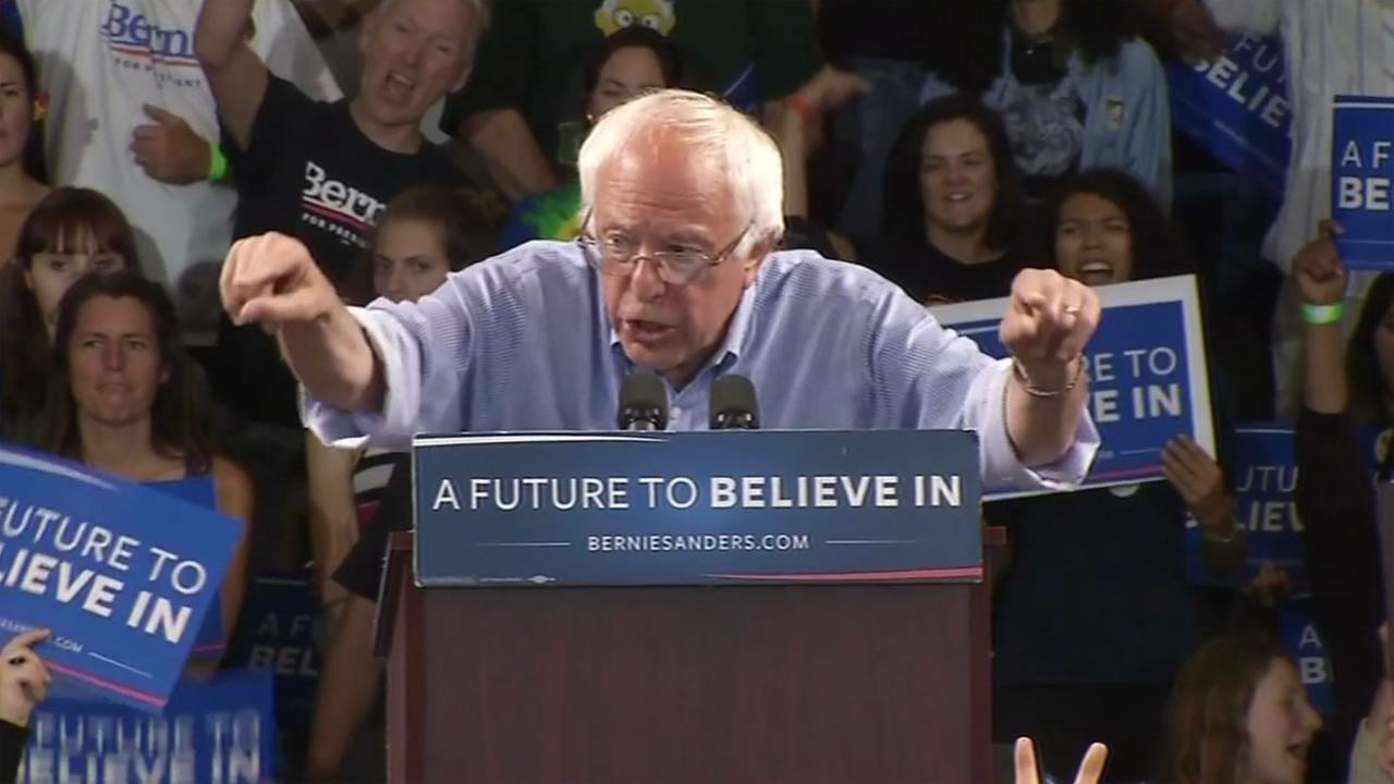 This image shows Bernie Sanders speaking at the Kaiser Permanente Arena in Santa Cruz, Calif. May 31, 2016.