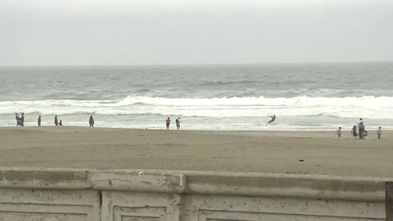 This image shows Ocean Beach in San Francisco on June, 1, 2016.