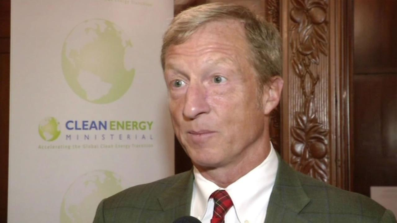 This image shows Bay Area billionaire Tom Steyer, a climate change activist, who attended the Clean Energy Ministerial