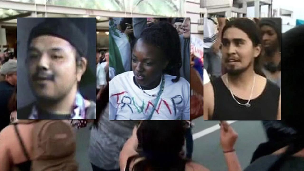 San Jose police are searching for three suspects accused of assaulting people during a Donald Trump rally in San Jose, Calif. June 2, 2016.