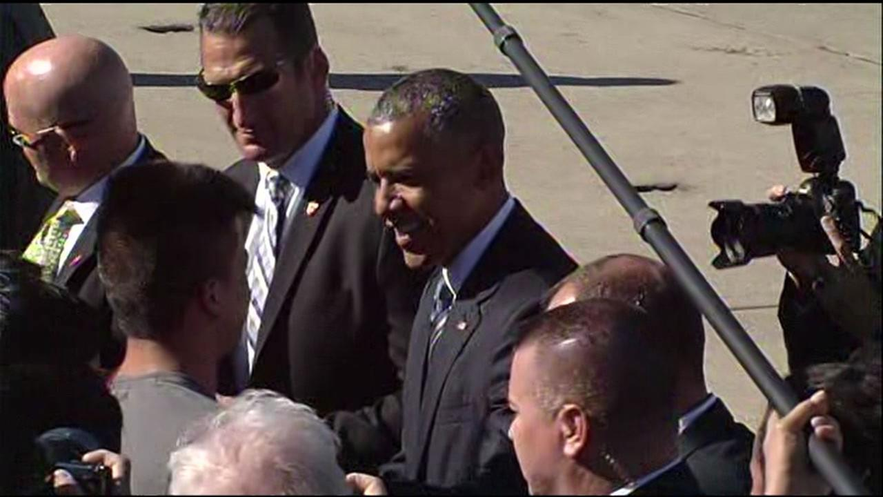 This image shows President Obama arriving at Moffett Field in Mountain View, Calif, on June 23, 2016.