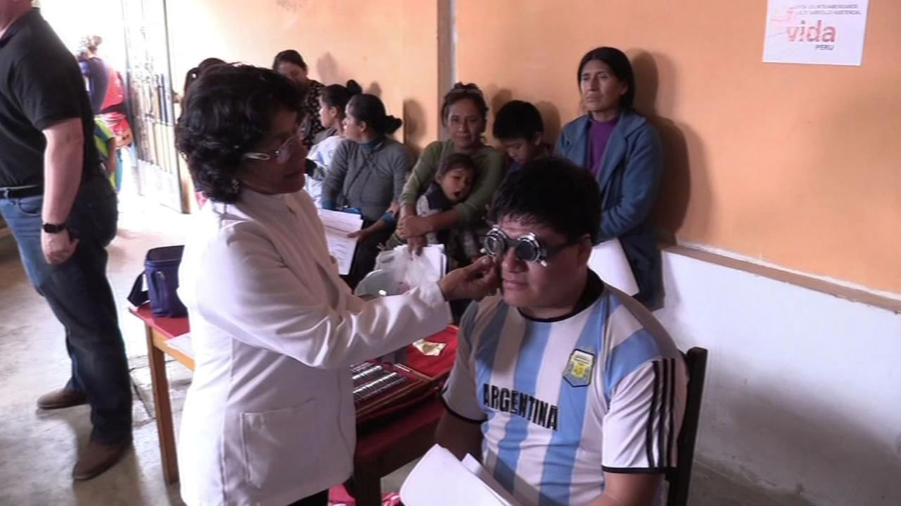 This image shows a patient being treated in Peru.