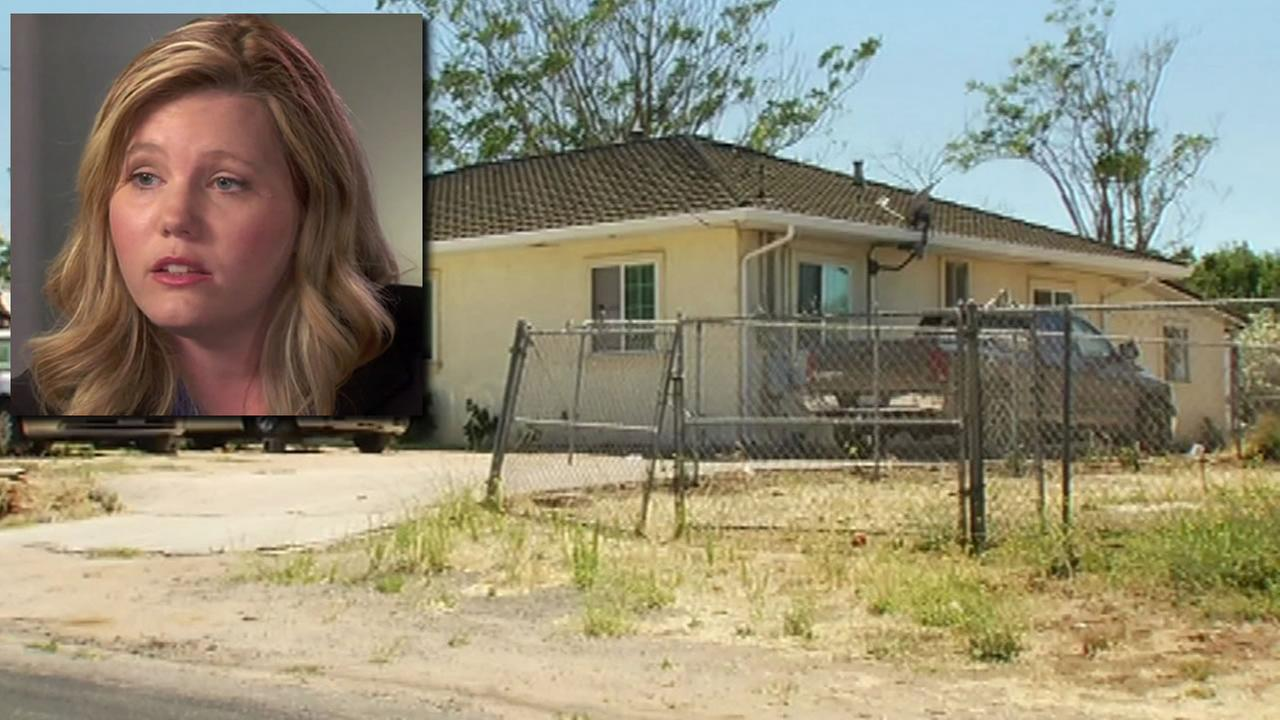 This split image shows Jaycee Dugard on 20/20 on July 8, 2016 and the Antioch home where she was held captive.
