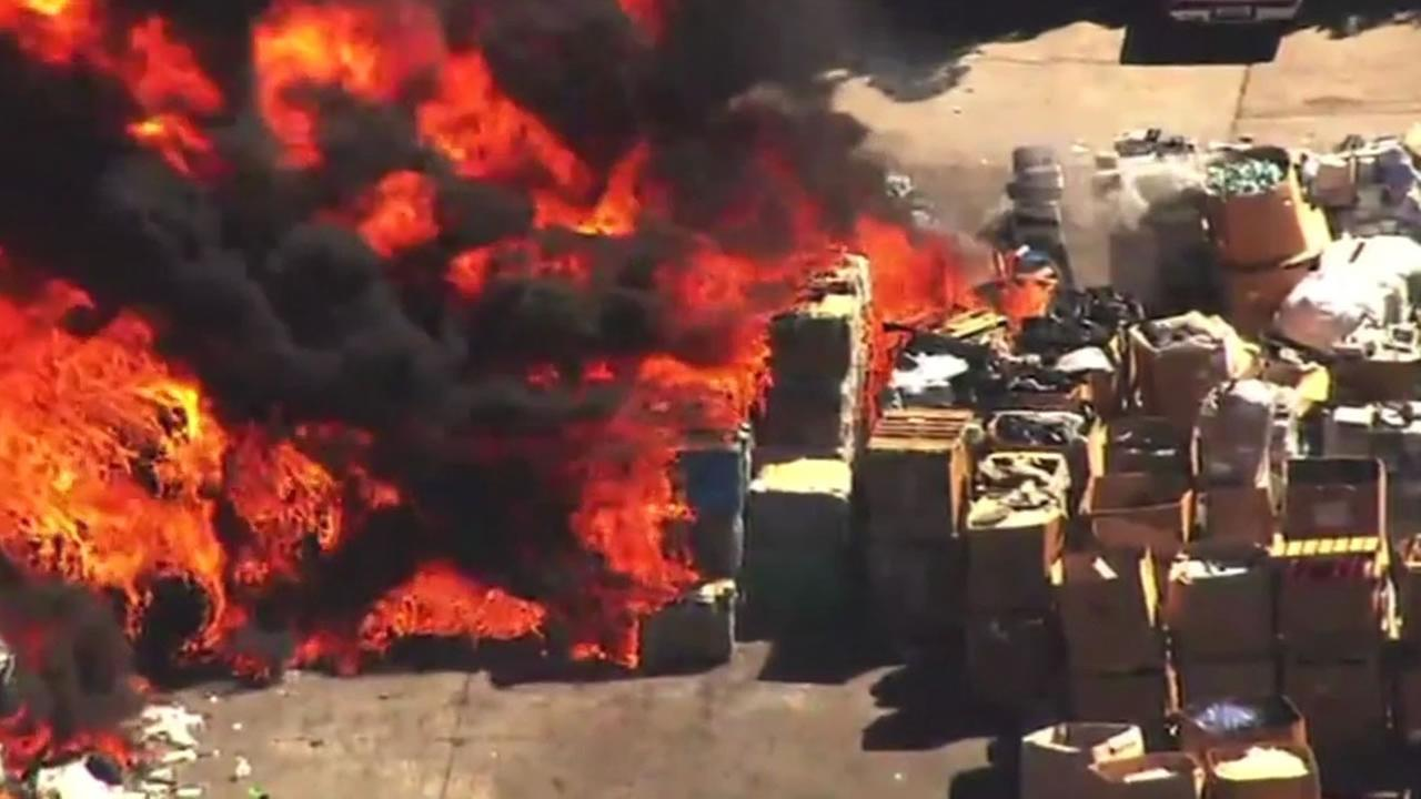 This image shows a massive fire at a Newark, Calif. recycling plant on July 9, 2016.