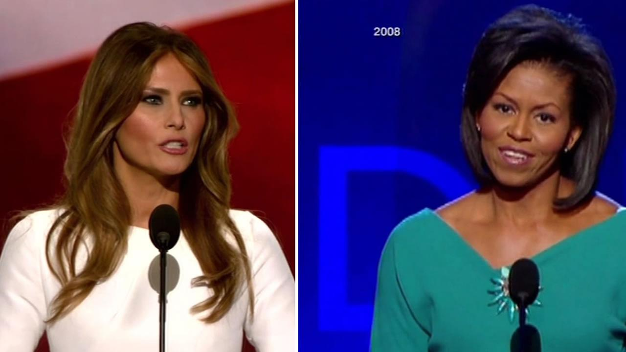 This split image shows Melanie Trump and Michelle Obama.