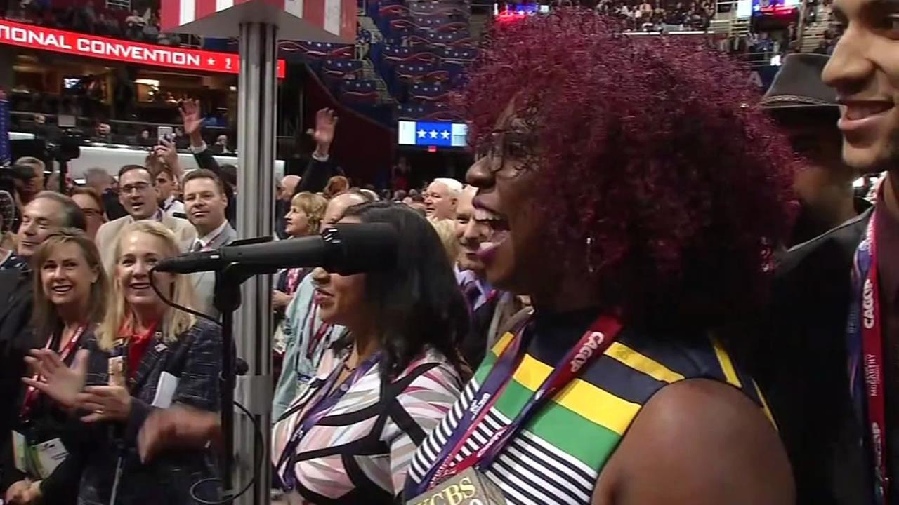 This image shows delegates from California at the Republican National Convention on July 19, 2016.