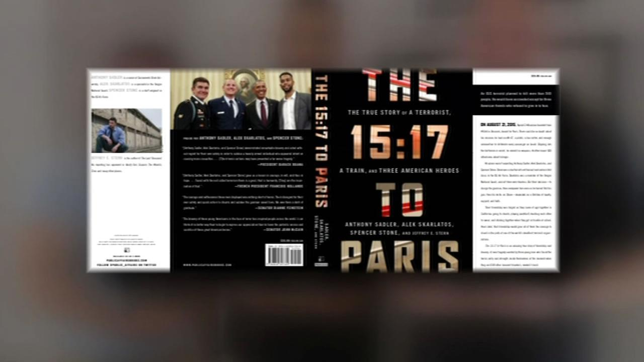 This image shows the new book, The 5:17 to Paris written by three Sacramento men who thwarted an attack on a train headed to Paris.