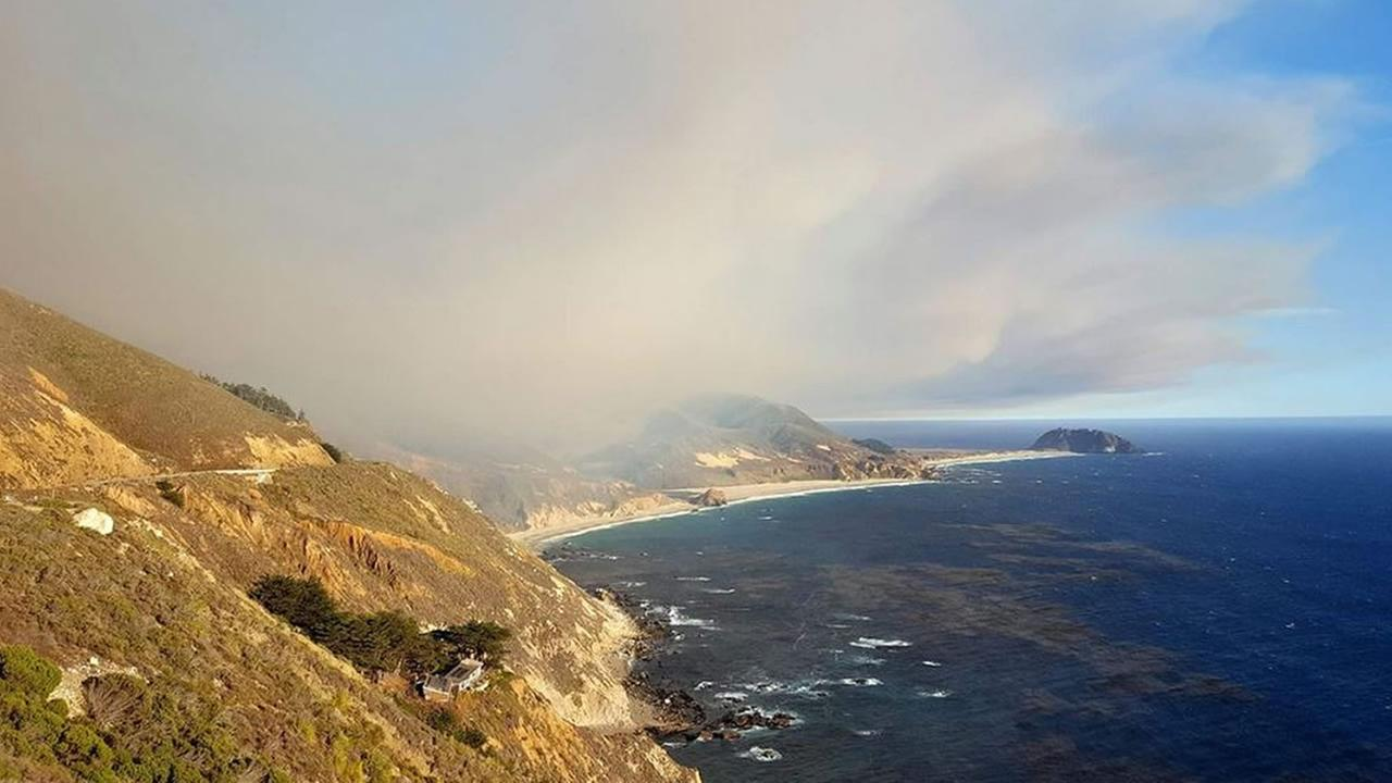 This image shows smoke from the Soberanes Fire in Monterey County near Big Sur on July 23, 2016.