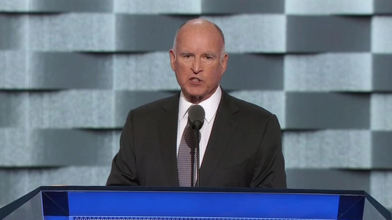 This image shows Gov. Jerry brown speaking at the Democratic National Convention in Philadelphia on July 27, 2016.