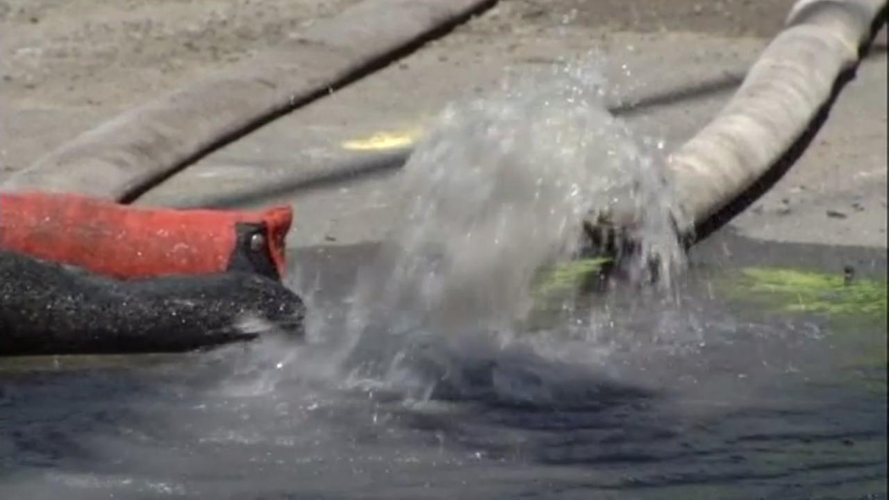 A water main break is seen near Gilman Street in Berkeley, Calif. on Saturday, July 30, 2016.