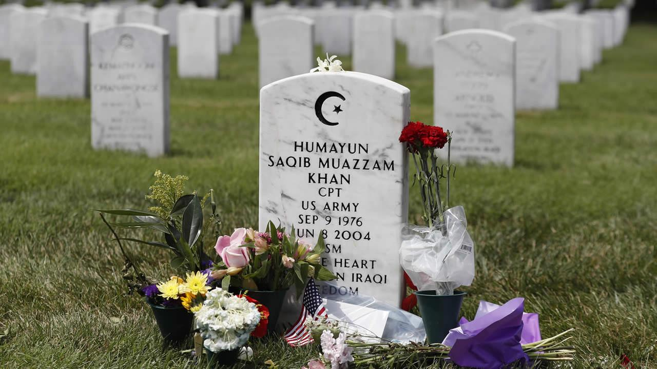The tombstone of US Army Capt. Humayun S. M. Khan is seen in Section 60 at Arlington National Cemetery in Arlington, Va., Monday, Aug. 1, 2016.
