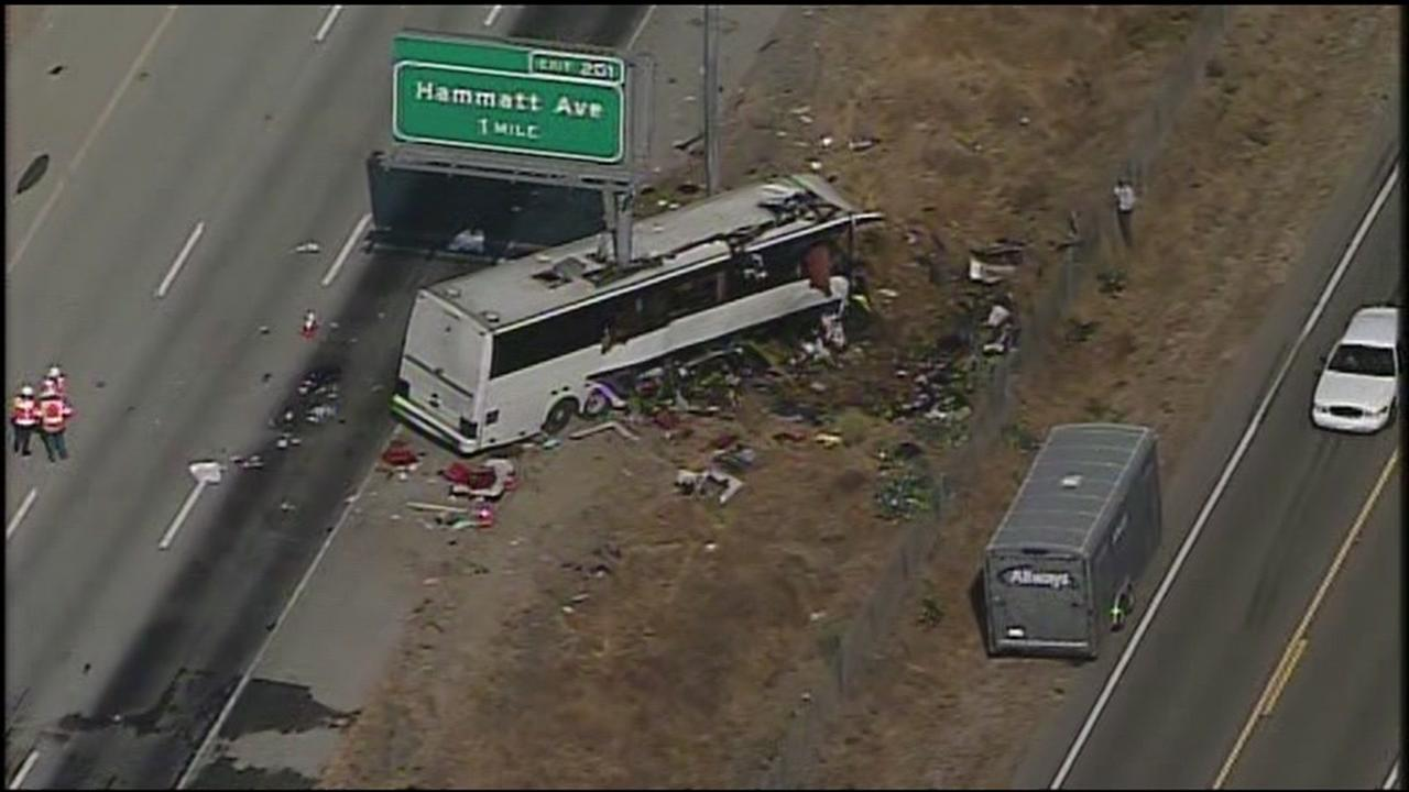 SKY7 HD over aftermath of fatal Merced County bus crash