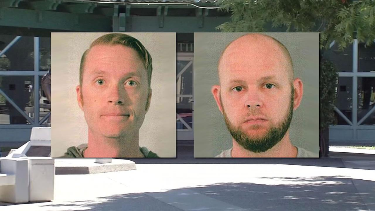 This image shows Thomas McPike (left) and Donald Wade (right) who were arrested on accusations that they video taped girls changing at the theater where they worked.