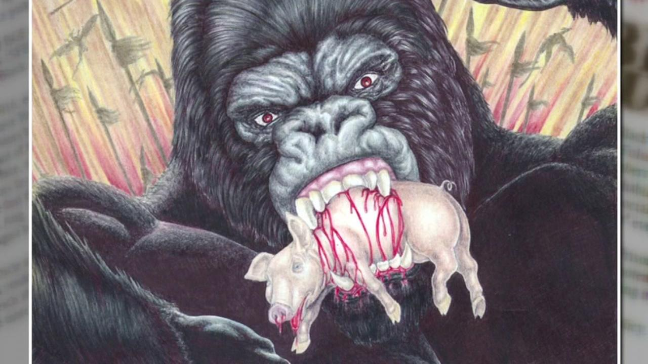 A drawing from a newspaper by a BGF member shows a gorilla eating a pig.