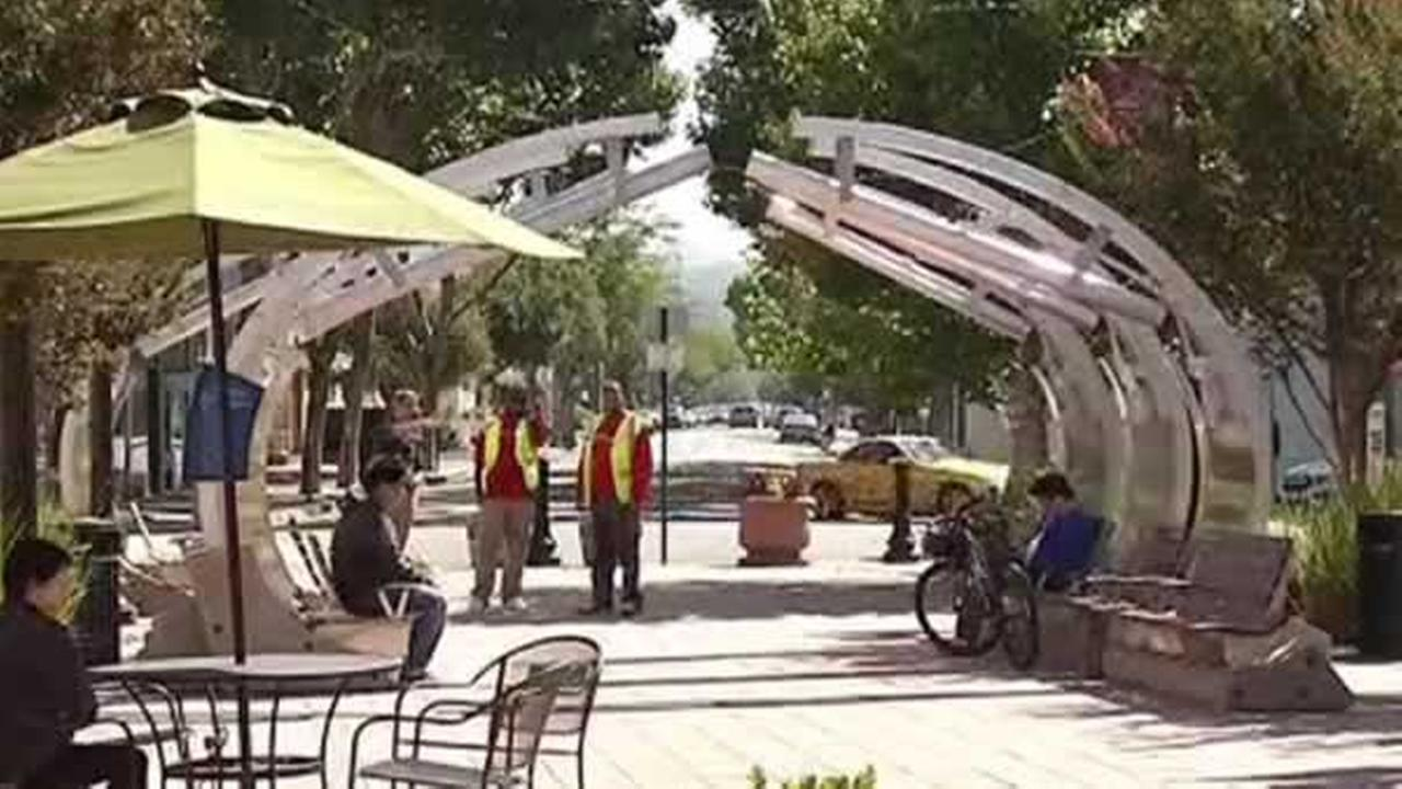 The Exploratorium installed an interactive musical exhibit in Joaquin Plaza in San Leandro, Calif., which opened on Wednesday, August 3, 2016.