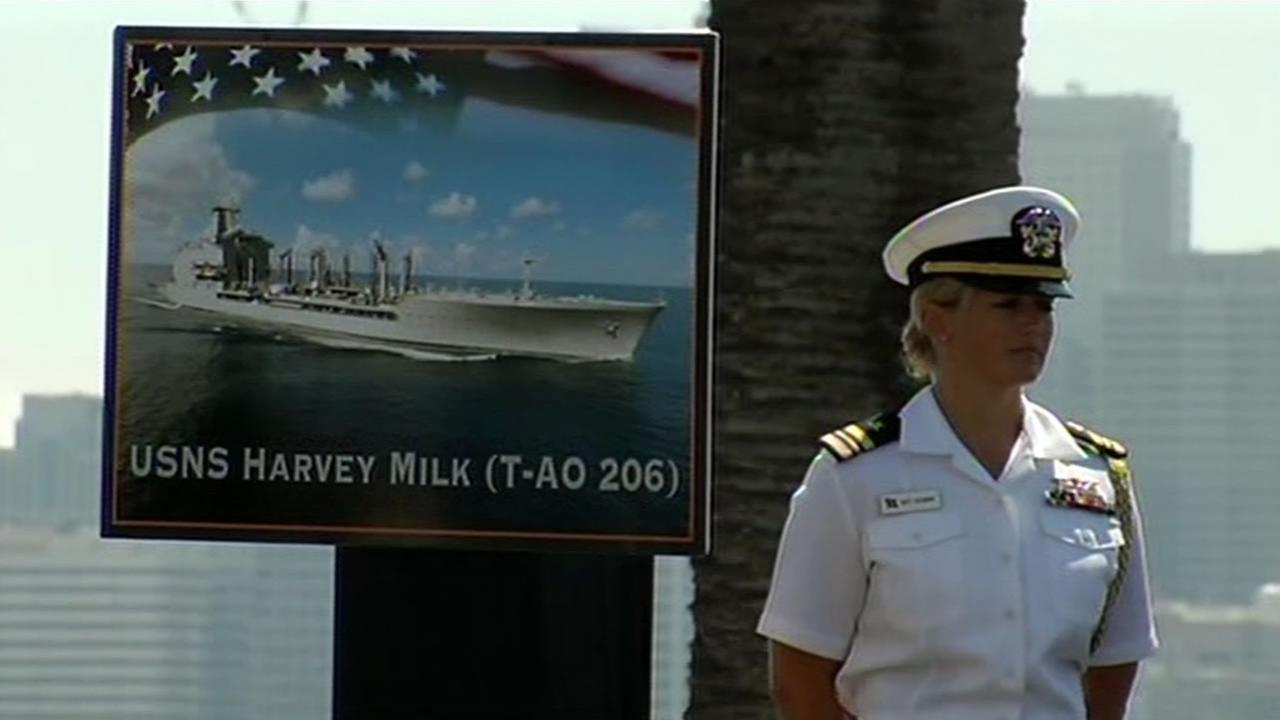 This image shows what the USNS Harvey Milk will look like once its built. A ceremony on Treasure Island, Calif. was held August 16, 2016 to celebrate the dedication of the ship.