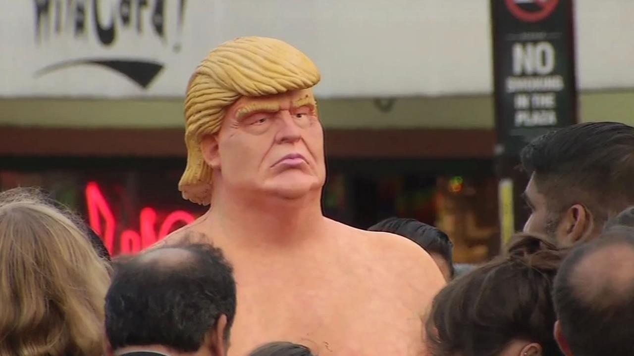 This image shows a naked Donald Trump statue that popped up in San Franciscos Castro District Thursday, August 18, 2016.