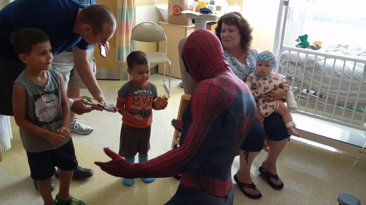Spiderman visits kids at Kaiser Permanente Santa Clara
