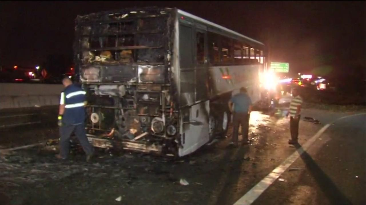 This image shows a bus that caught fire on Interstate 800 in San Jose, Calif. on August 30, 2016.
