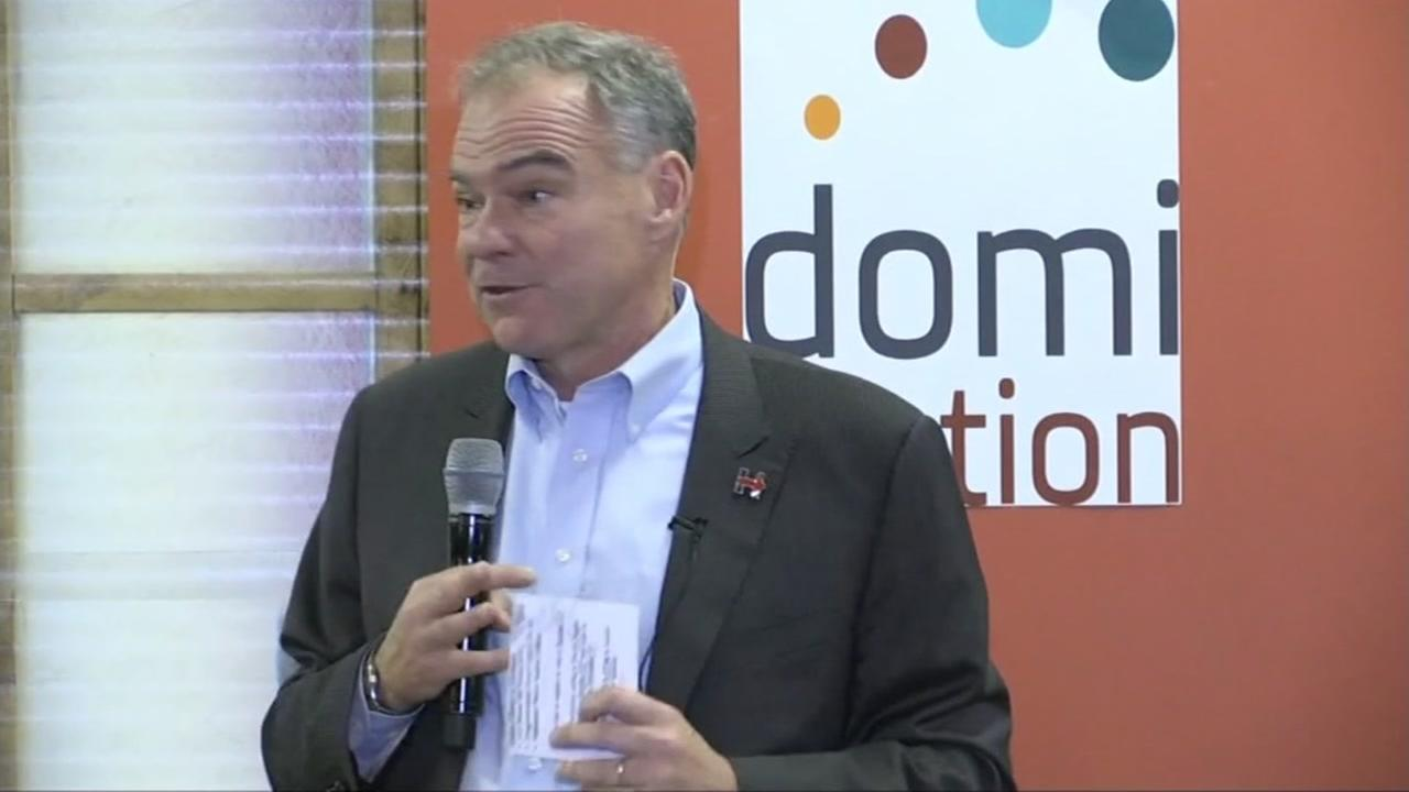 Tim Kaine is seen speaking in Atherton, Calif. on Wednesday, September 21, 2016.