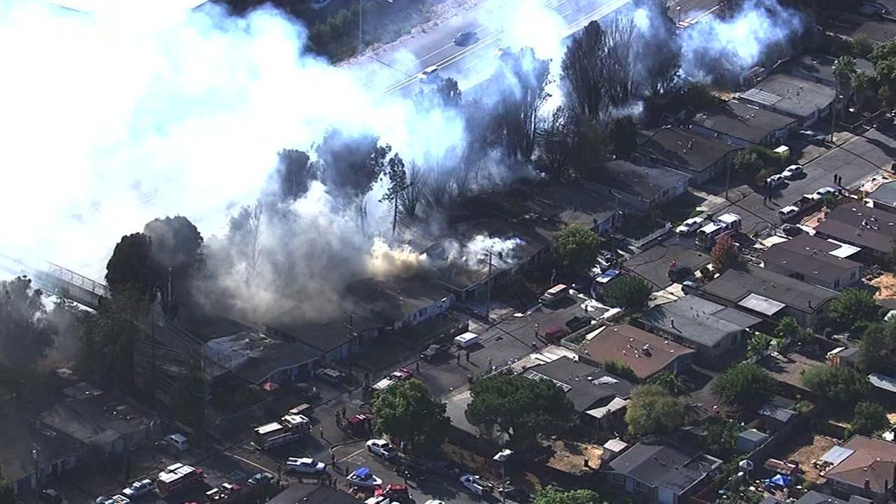 A fire burns homes in Petaluma, Calif. on September 27, 2016.