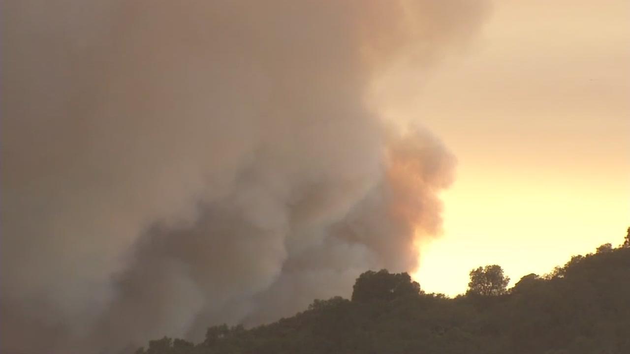 Loma Fire burns in Santa Cruz Mountains on Wednesday, September 28, 2016.