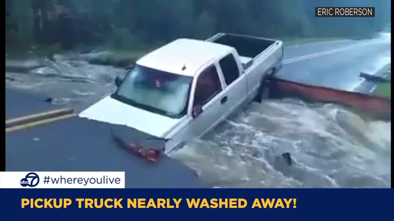 KNOW AND TELL: Pickup truck nearly washed away