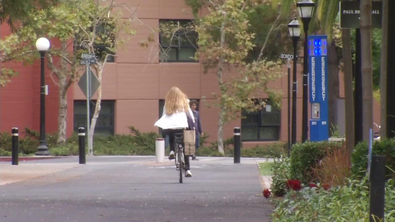 A woman riders a bicycle on the Stanford University campus in this undated image.