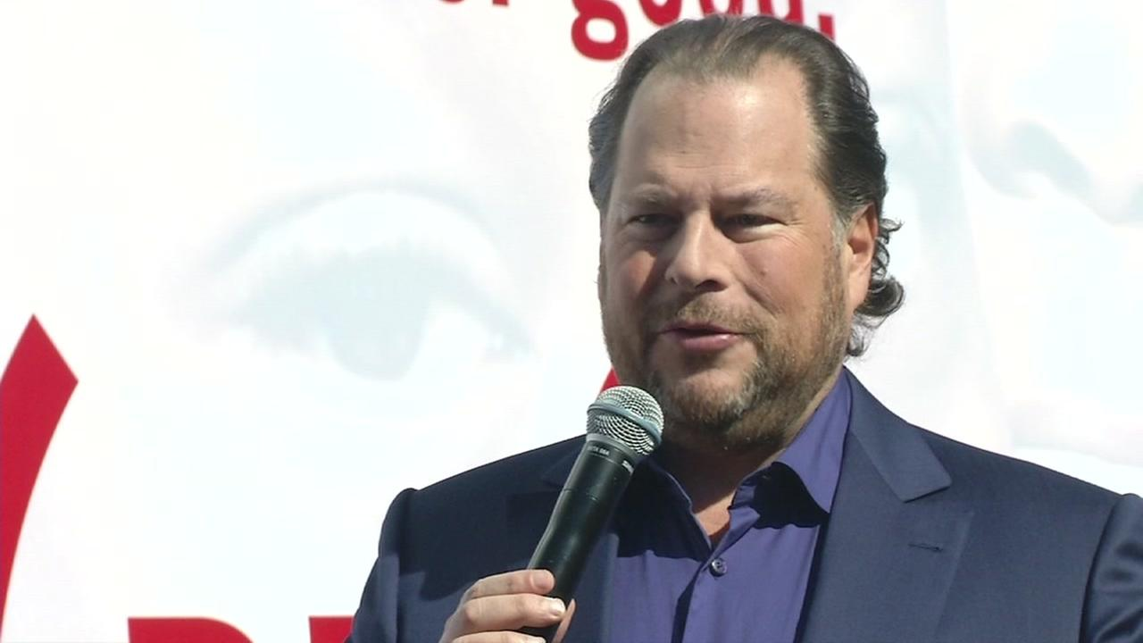 Salesforce CEO Marc Benioff is seen speaking at Dreamforce in San Francisco, Calif. on Wednesday, October 5, 2016.