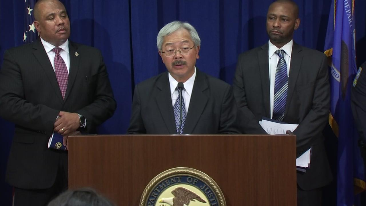 This image shows Ed Lee at a news conference in San Francisco on Oct. 12, 2016 during which the Department of Justice issued a report on the SFPD.